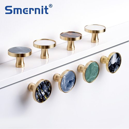 Brass Door Knobs and Handles for Cabinet  Shell Resin Elegant Furniture Handles Kitchen Cupboard Drawer Pulls Wall Hanging Hooks