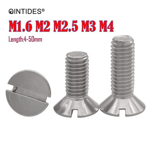 QINTIDES M1.6 M2 M2.5 M3 M4 Slotted Countersunk Flat Head Screws  Stainless Steel Screw Slotted