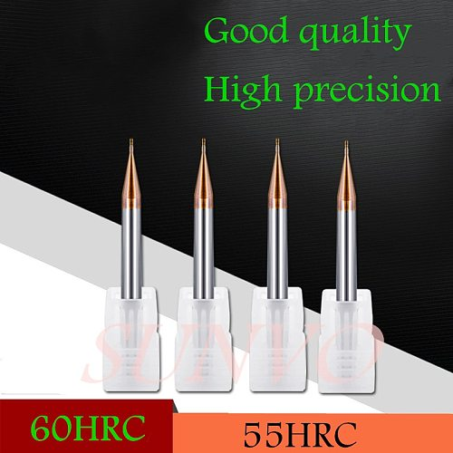 5PCS 0.2/0.3/0.4/0.5/0.6/0.7/0.8/0.9mm 60° hardness 2Flutes micro Flat end mills Carbide End Mills For CNC Milling cutter Tools