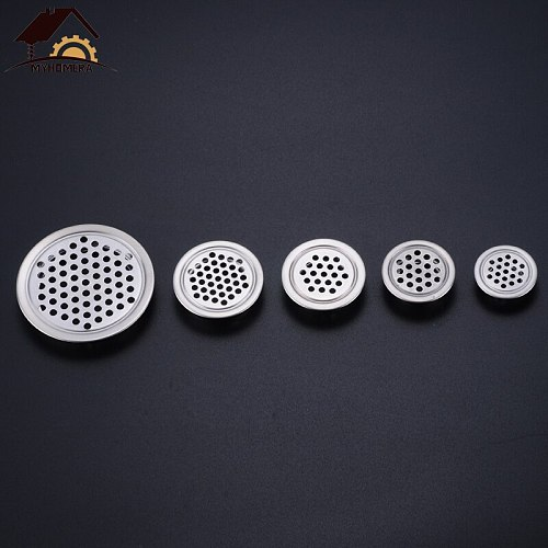 Myhomera 6pcs Wardrobe Cabinet Mesh Hole Air Vent Core Vents Louver Ventilation Cover Stainless Steel 19mm/25mm/29mm/35mm/53mm