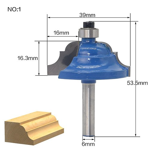 1pcs 6mm Shank Wood Router Bit Straight T V Flush Trimming Cleaning Round Corner Cove Box Bits Milling Cutter for Wood