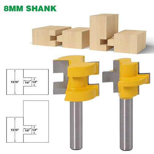 2pcs 8mm Shank Carving Cutter Wood Cutters Square Tooth T-Slot Tenon Milling Cutter Router Bits for Wood Tool Woodworking