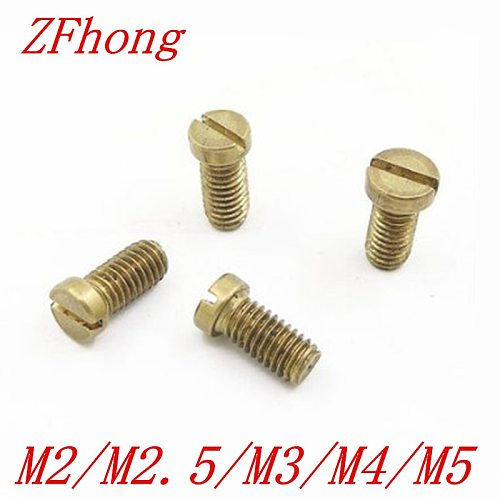 10-50PCS m1.2 m1.4 m1.6 M2 M2.5 M3 M4 M5 DIN84 Brass Slotted Cheese Head Screw Brass Screw Brass Bolt
