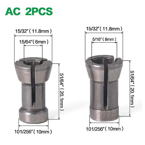 1 Set 1/4'' 6MM 6.35MM 8MM Shank Milling Cutter Collet Chuck Engraving Trimming Milling Cutter For Wood Router Bits Woodworking