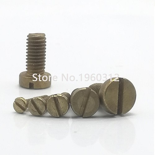 100Pcs/Lot M2 M2.5 M3*L DIN84 Brass Slotted Cheese Head Screw Brass Screw Brass Bolt