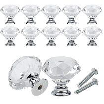 10Pcs/set 30mm Diamond Shape Design Crystal Glass Knobs Cupboard Drawer Pull Kitchen Cabinet Door Wardrobe Handles Hardware