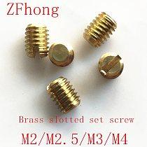50Pcs M2 M2.5 M3 M4 slotted headless screws grubs flat end tighten bolts screw brass bolt 3-10mm Length