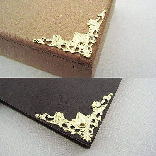 24x Antique Brass Silvery Golden Jewelry Box Chest Gift Wine Wooden Case Book Scrapbook Photo Album Corner Decorative Protector