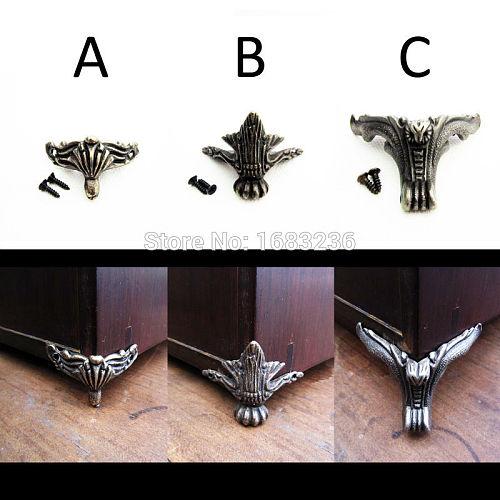 4pcs Antique Brass Vintage Bronze Jewelry Gift Box Wooden Case Decorative Feet Leg Metal Corner Protector With Screws