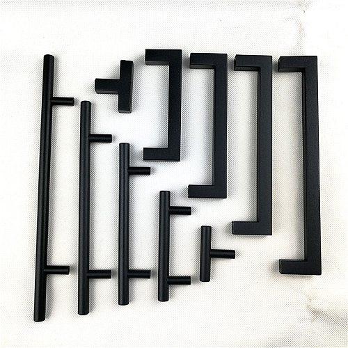 Matt Black square Handle  Stainless Steel Cabinet handle Kitchen Door Knob Furniture Drawer Pull 2 ~24