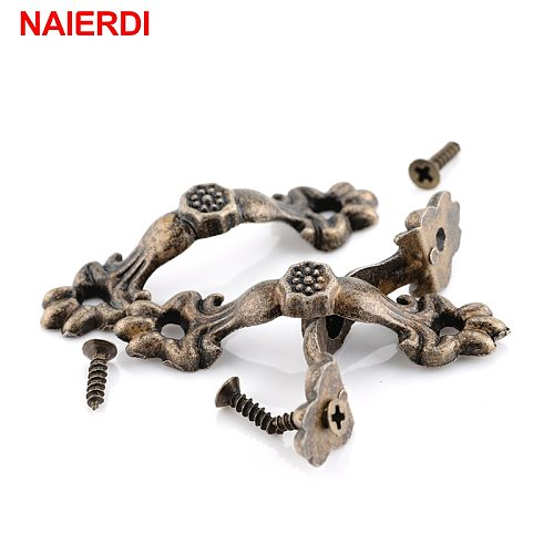NAIERDI 10pcs Box Knobs Zinc Alloy Handle Arch Tracery Bronze Tone For Drawer Wooden Jewelry Box Mini Handles For Hardware