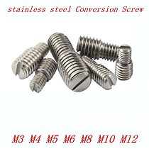 4pcs/lot M3 M4 M5 M6 M8 M10 M12  D1 X L1 to D2 X L2 stainless steel double slotted conversion camera screw