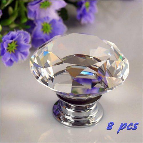 8pcs Portable Furniture Handle 30mm Diamond Crystal Glass Alloy Door Drawer Cabinet Wardrobe Pull Knobs Drop Worldwide Store set