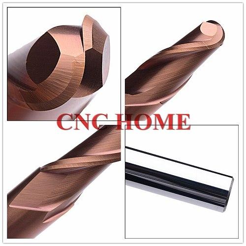 1PC hrc55 two flutes end mill ball nose cnc router bits R1.5 R2 R3 R4 R5 R6 R8 R10 tungsten carbide Lengthen CNC milling cutter