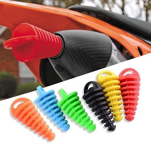 5pcs Motorcycle Exhaust Pipe Plug Muffler Wash Plug Pipe Protector Motocross Tailpipe Plug Move Blow-Down Silencer PVC