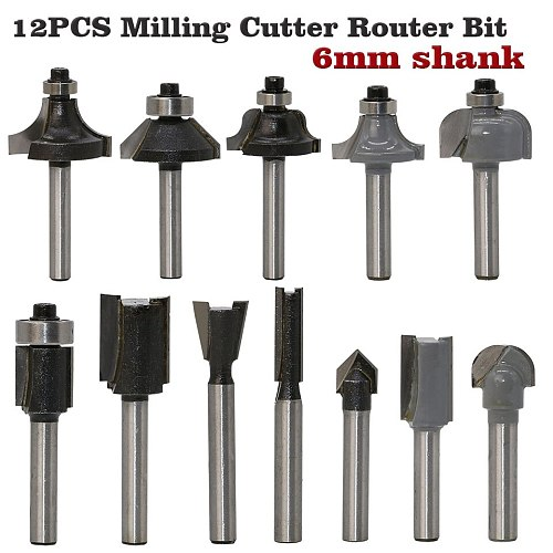 12pcs Milling Cutter Router Bit Set 6mm Wood Cutter Carbide Shank Mill Woodworking Trimming Engraving Carving Cutting Tools