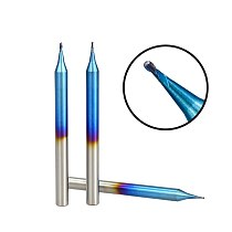 Micro Ball Nose End Mill 1pc R0.1-R0.45 Nano Blue Coated CNC Milling Cutter 2 Flutes Micro Carbide Milling Bit