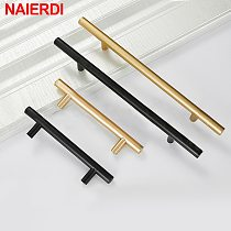 NAIERDI Brushed Black Gold Straight Cupboard Handles Knobs Stainless Steel Brushed Black Gold Kitchen Door Handles Cabinet Pull