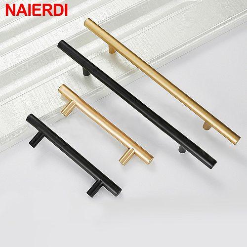 NAIERDI Brushed Black Gold Straight Cupboard Handles Knobs Stainless Steel Brushed Black Gold Kitchen Door Handles Cabinet Pull