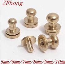 50pcs 5mm/6mm/7mm/8mm/9mm/10mm round head solid brass leather rivet DIY screws for belt