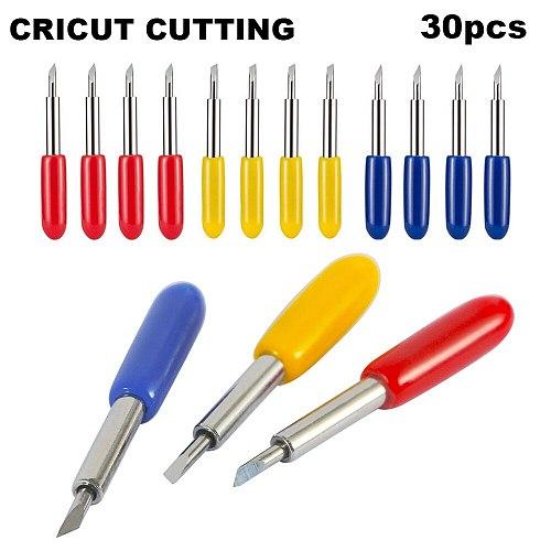 30pcs 30 45 60 Degree Roland Cricut Cutting Plotter Vinyl Cutter Knife Blades Offset Cricut Machine Milling Cutter Router Bit
