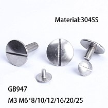 GB947 Stainless steel 304 material extra large flat head slotted screw M3 M6*8/10/12/16/20/25