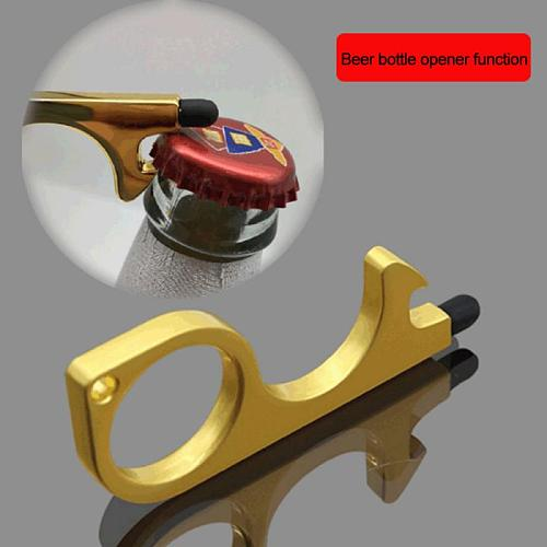 Portable Hygiene Hand Brass Contactless Door Opener Key Chain Elevator Handle Health Tool With Key Ring Dropshipping