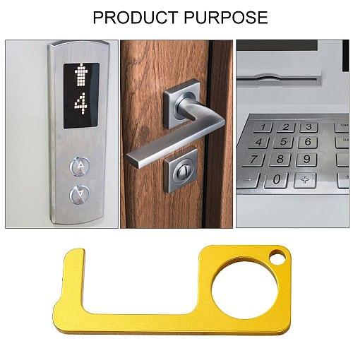 Portable Press Elevator Tool Hand Antimicrobial Alloy EDC Door Opener Door Handle Key Metal Portable Door Opener