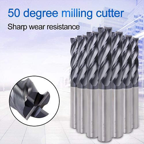 Milling Tools Carbide End Mill HRC50 4 Flute 1mm 3mm 4mm 5mm 6mm 8mm 10mm Cnc Cutter Metal Alloy Wood Milling Cutter Endmill