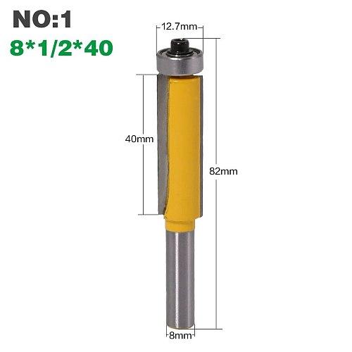 1Pc 8 SHANKlong blade flush bit  Flush Trim Router Bit End Bearing For Woodworking Cutting Tool