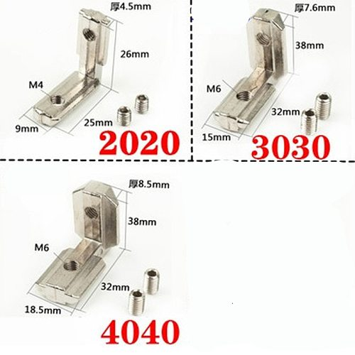 2-10pcs T Slot L-Shape 2020 3030 4040 Aluminum Profile Interior Corner Connector Joint Bracket with screw