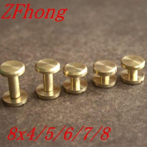 50pcs   8*4mm, 8*5mm, 8*6mm, 8*7mm, 8x8mm Flat Head Leather Craft Belt Wallet Solid Brass Nail Rivets Chicago Screws