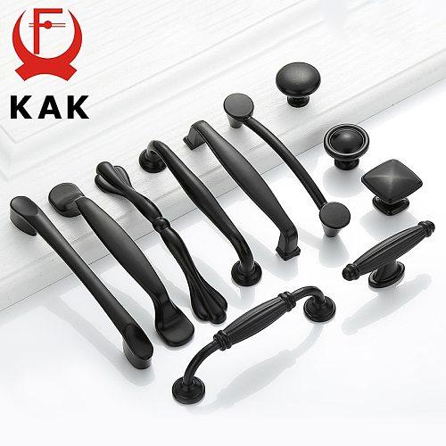 KAK American Style Black Cabinet Handles Solid Aluminum Alloy Kitchen Cupboard Pulls Drawer Knobs Furniture Handle Hardware