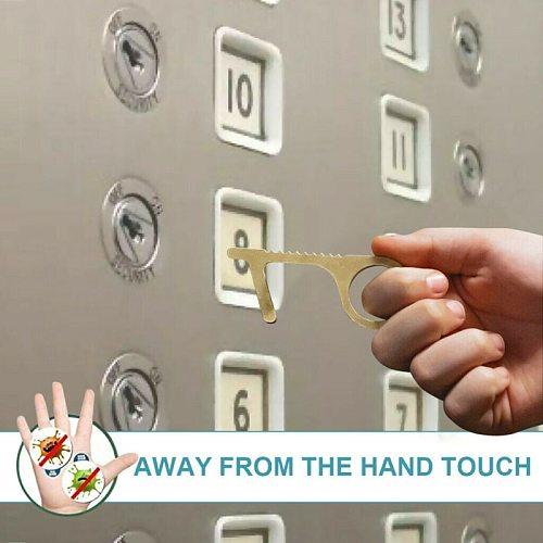 Key Door Opener Elevator Press Handle Key Safe Keychain Zero-touch Key Press Key Ring For Elevator Artifact