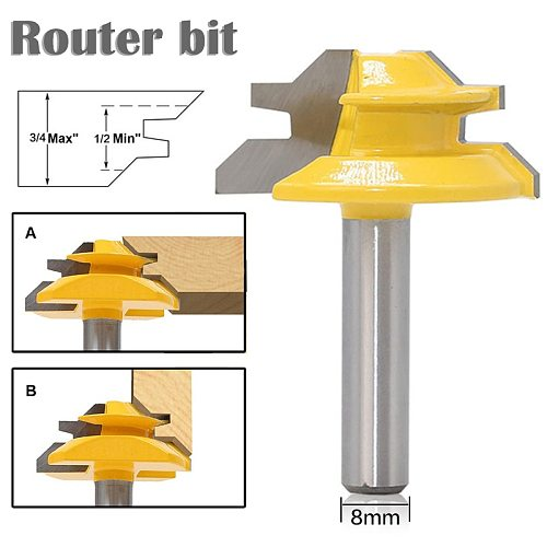 1Pc 45 Degree Lock Miter Router Bit 8*1-1/2 Inch Shank Woodworking Tenon Milling Cutter Tool Drilling Milling For Wood Carbide