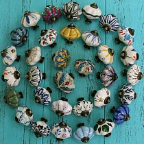 New arrival hand painted ceramic pumpkin knobs cabinet drawer handles pulls Pack of one knob with screw