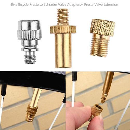 Bike Bicycle Presta to Schrader Valve Adapters+ Presta Valve Extension