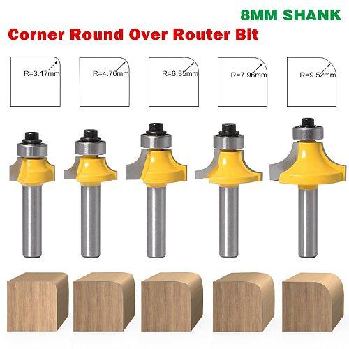 1PC 8mm Shank Corner Round Over Edging Wood Router Bit 2 Flute Corner Round Cove Box Bit Woodworking Tenon Cutter Tool