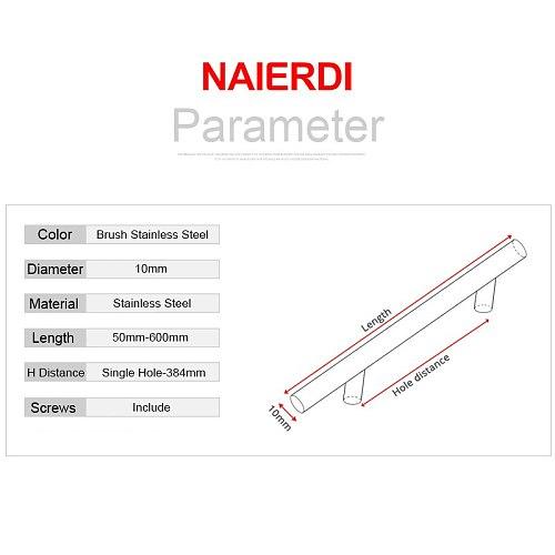 NAIERDI 2  ~ 24'' Stainless Steel Cabinet Handles Diameter 10mm Kitchen Door T Bar Straight Handle Pull Knobs Furniture Hardware