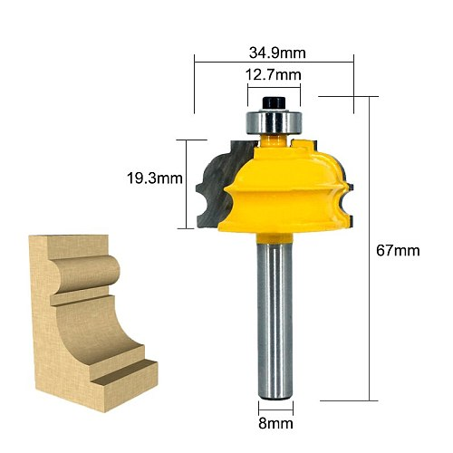 LAVIE 1pc 8MM Shank Special Architectural Handrail Molding Router Bit Woodworking Cutter Milling for Wood Bit Face Mill MC02077