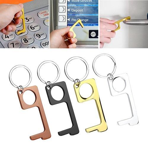 Hygiene Hand with Key Ring Antimicrobial Alloy EDC Door Opener Portable Press Elevator Tool Door Handle Key