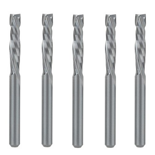 5PCS UP &DOWN Cut 3.175x17mm Two Flutes Spiral Carbide Mill Tool Cutters for CNC Router, Compression Wood End Mill Cutter Bits