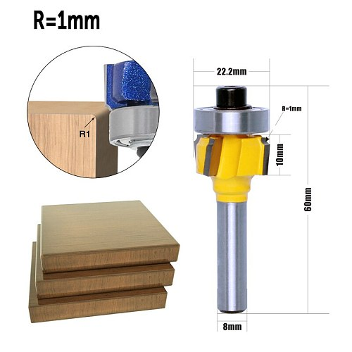 1PC 8mm Shank high quality Woodworking Milling Cutter R1mm R1.5mm R2mm Trimming Knife Edge Trimmer 4 Teeth Wood Router Bit