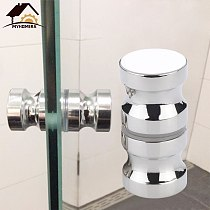 Myhomera Door Handle Glass Door Knob Puller Push Bathroom In & Out Shower Cabinet Handles Drawer Brushed / Silver 30-100mm Screw