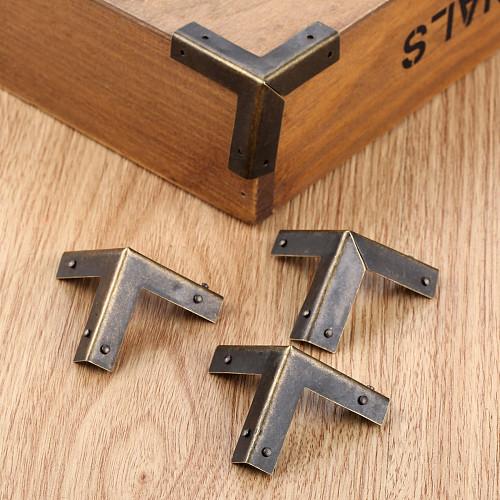 DRELD 4Pcs Antique Bronze Corner Protectors Wooden Box Coner Wine Box Protector Furniture Hardware Cover Triangle Corners 33mm