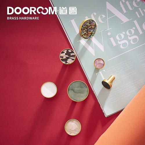 Dooroom Brass Furniture Handles Shell Simple Nordic Pastoral Wardrobe Dresser Knobs Cupboard Cabinet Drawer Round Colorful Pulls