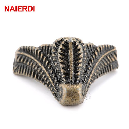 NAIERDI 10PCS Antique Corner Bracket Bronze Jewelry Box Wooden Case Decorative Feet Leg Corner Protector Furniture Hardware