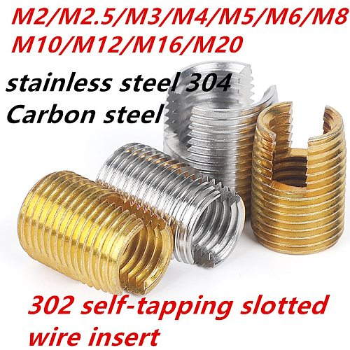 M2-M20stainless steel 304 carbon steel 302 self-tapping slotted wire thread  insert nut repair tools bushing screw718