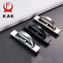 KAK Tatami Hidden Door Handles Zinc Alloy Recessed Flush Pull Cover Floor Cabinet Handle Bright Chrome Dark Furniture Hardware