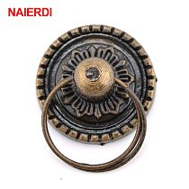 NAIERDI 2pcs Retro Bronze Kitchen Cabinet Knobs Cupboard Door Handles Vintage Wardrobe Furniture Handle Jewelry Box Drawer Pulls
